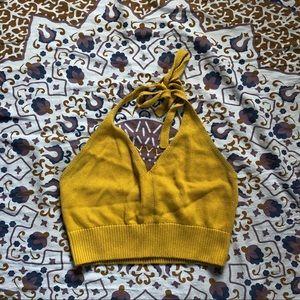 Yellow crotchet halter top